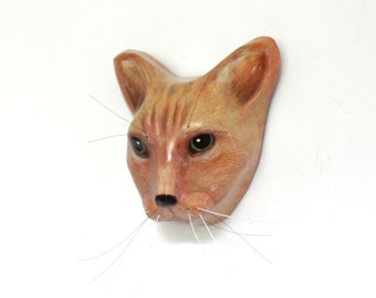 Custom cat portrait / Cat wall mount, art sculpture, faux taxidermy
