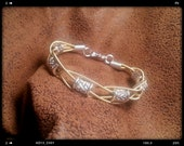 Guitar String 4-Strand Bracelet with Large Silver Tone Spacers