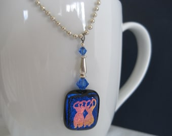 Dichroic Glass Dancing Goddess Necklace