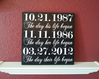 The day their life began wood sign
