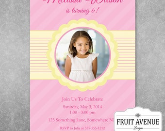 Girls Birthday Party Invitation with Photos - Printable
