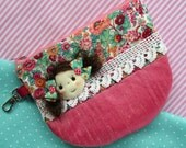Zip purse - raspberry pink silk with vintage lace and applique Jolly Dolly