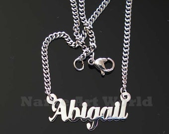 Abigail name necklaces. stainless steel. next day ship. never tarnishes. shiny silver color
