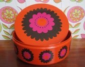 Reserved - Retro Brabantia Orange Cookie Tin Round Metal Container Sweets Toffees Pink Brown Flowers Mid Century Modern Flower Power 1970s