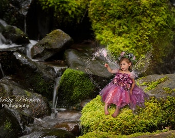 Mossy Rock by Waterfall Fantasy Fairy Digital Background for Fairy Composite Pictures