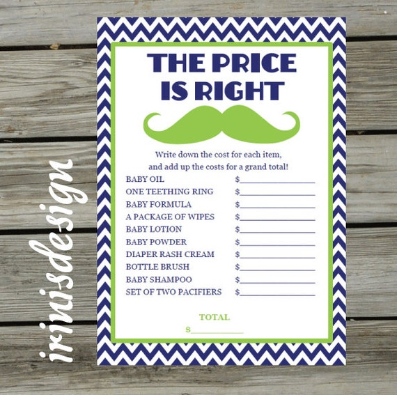 baby little man shower game the price is right printable print at