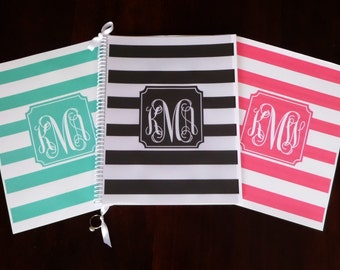 Custom Monogrammed Wedding Planner & Organizer Book - Striped Design and Assorted Colors - Engagement Gift and tool for new Brides