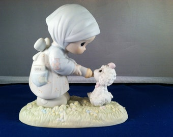 Feed My Sheep, Precious Moments Figurine, Girl feeding lamb with bottle