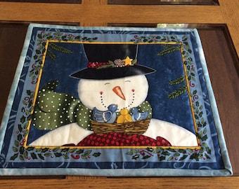"Set of three 14"" x 12"" Christmas snowmen face placemats"