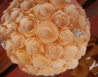 Large Handmade Paper Wedding Bouquet Bride or Bridesmaids Bouquet ANY Colors Free matching Boutonniere Ivory