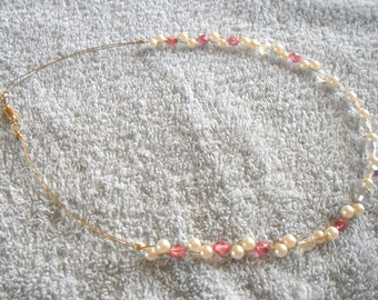 Pearls, crystals and pink beaded necklace