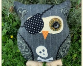 Pinstripe Pirate Owl.  Owl pillow.  Owl cushion.  Owl plushie. - TheSherbetPatch