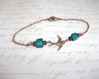 Antique copper bird charm bracelet