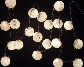 Solar White Cotton Ball Fairy Lights 8 Meters.