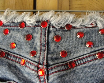 Vintage 90s Guess studded jeweled denim jeans with no waistband frayed small medium size 27 stretchy 1990s 7