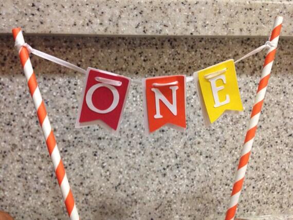 ONE, Cake banner, cake smash banner, first Birthday, I am one, Cake Bunting