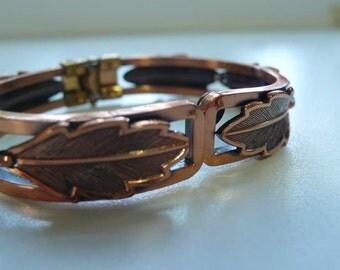 Vintage Copper by Bell Hinged Leaf Bracelet