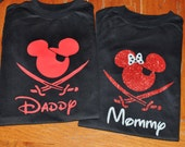 Custom Disney Family Matching Shirts Mickey Mouse Inspired with Glitter option Available Pirate Personalized