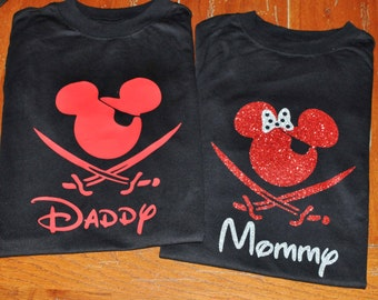 Disney Cruise Shirts/Custom Disney Family Matching Shirts/Disney Pirate Shirts/Mickey Mouse Pirate Night Inspired Glitter Available Pirate