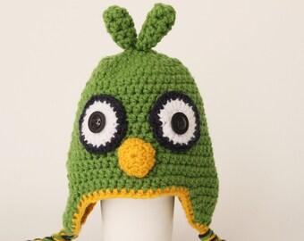 Crochet  ,  bird parrot  Hat, Toddler hat ,children hat ,Newborn hat ,toddler crochet hat ,baby hat , with removable flowers