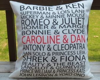 Personalized couple listed among famous couples on 18X18 Decorative Pillow Cover