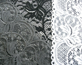 "0,5 m elastic embroidered lace ""Cannes""  16 cm br. white black grey"