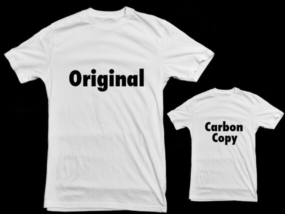 Matching Father and Child t-shirt set. Original and Carbon Copy. White cotton t-shirts with free international delivery.