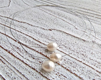 Necklace white #44,freshwater pearls,Ladies Necklace,Handmade Jewelry,Multi-strand,Boho Chic,Women,Wedding,Gift for her,White