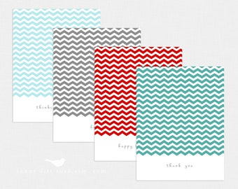 Chevron All Occasion Note cards - Set of 4