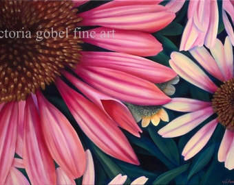 Pink Daisy - Giclee - Original work by Victoria Gobel - 30 x 36 Gallery Wrapped Canvas