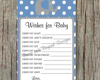 Instant Download Ocean Blue Grey Elephant Wishes For Baby PDF Advice Cards diy Printable Party Game - 056