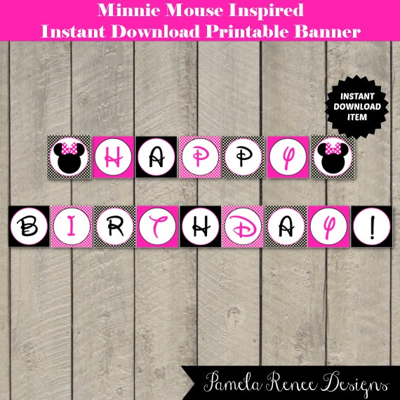INSTANT DOWNLOAD Pink Minnie Inspired Happy Birthday