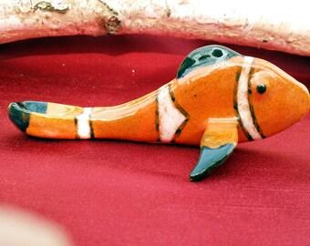 Clownfish Pipe, 6 inch long, ceramic, handmade, orange with white and black striped glaze