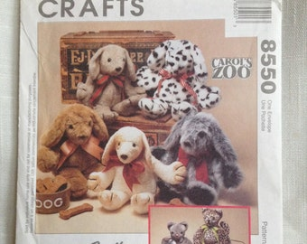 McCall's Crafts Pattern 8550 Cat and Puppy Stuffed Animals