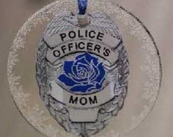 Thin Blue Line Police Mom Crystal Snowflake Ornament USA SKU: ORN014