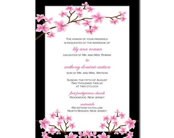 Cherry Blossoms Wedding Invitation or Cherry Blossom Bridal Shower Invitation DIY PRINTABLE Digital File or Print (extra)