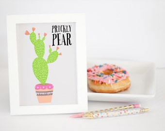 Southwest Art Print Home Decor - Prickly Pear Cactus Print - 8x10 or 11x14