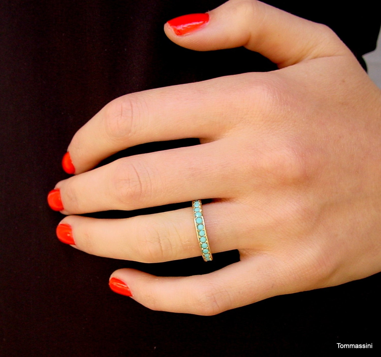 Stackable Band14k Gold Plated Turquoise Eternity Ring