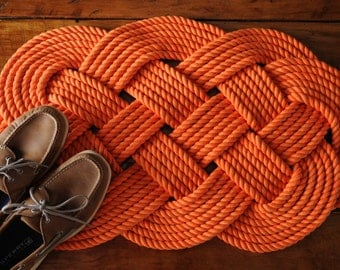 Nautical Rope Rug - Orange Cotton Bath Mat - Rope Mat - Nautical Decor - (32 x 18)