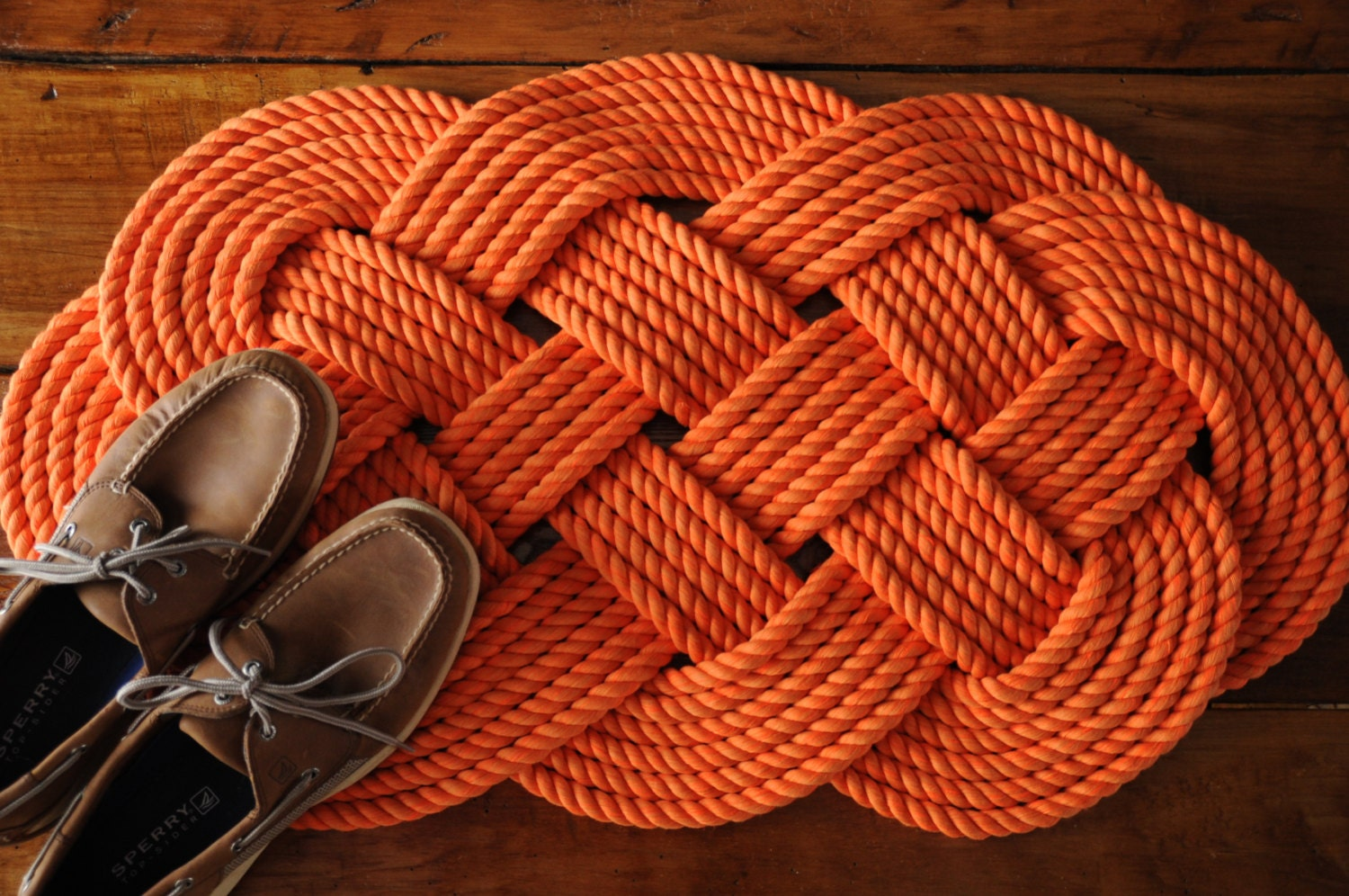 Nautical rope rug orange cotton bath mat rope mat for Rope bath mat