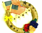 RESERVED for SHANA Patriotic Americana Style: 14 inch Felt and Burlap Wreath