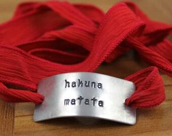 Inspirational Bracelet / Inspirational Jewelry / Hakuna Matata Bracelet / Custom Hakuna Matata Silk Wrap Bracelet / Lion King Bracelet