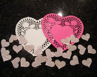 2500 medium 1&1/2 inch heart shaped confetti from upcycled romance novels great for scrap booking and weddings