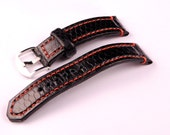 22 mm Black sea snake watch strap with polished ARD buckle...