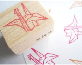 Origami crane, Wedding decor, Invitation stamp, Japanese origami, Crane stamp, Red bird stamp, Rubber stamp Japan, Japanese stationery