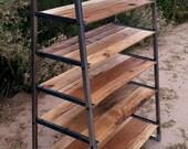 Shelving Unit / Bureau / Kitchen Pantry - Reclaimed Hardwood & Tubular Steel Raw Finish Industrial Style