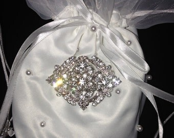 Bridal Money Bag, Vintage Style Purse, Wedding Purse, Prom Purse, White Money Bag