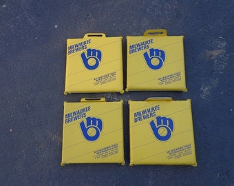 Set of 4 Brewers baseball seat cushions from the old county stadium .excellent shape