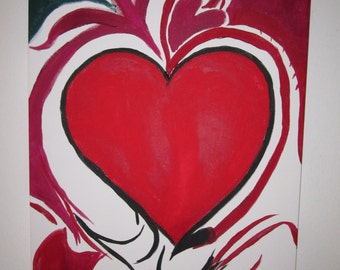 Acrylic Heart Painting,  Abstract Heart, Big Red Heart, Great Mother's Day present
