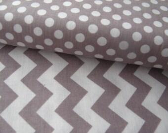 Riley Blake Fabric Duo 1/2 Yard Each Small Gray Dot Small Gray Chevron Cotton Fabric